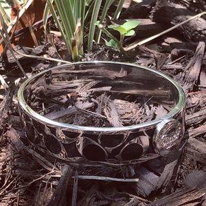 Coach Stainless Steel & Black Enamel Bracelet